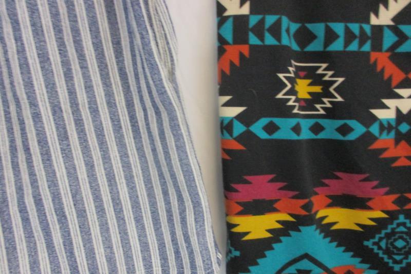 Lot of 2 Women's Blue White Striped Shorts Aztec Print Skirt Bottoms Size Large