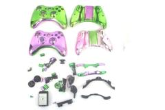 Lot of 2 Xbox 360 Controller Housing Shell Metallic Pink and Green