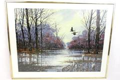 Limited Edition Signed Wall Print Geese Flying Over River In Winter 491 of 950