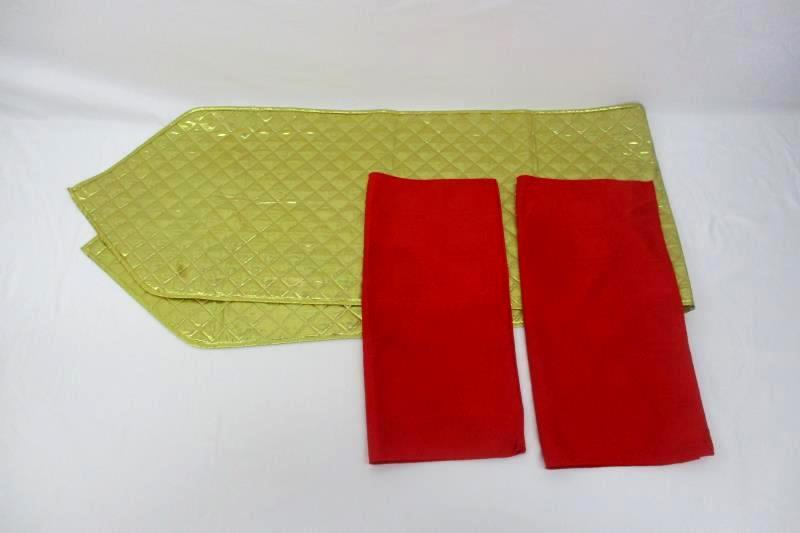 Lot Of 3 Table Runner Gold Metallic Polyester 72 inch and 2 Red Cloth Napkins