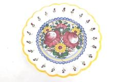 Flower Rose Handcrafted Decorative Glazed Painted Terra Cotta Pottery Plate