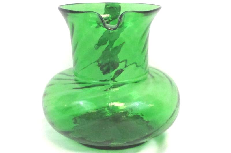 Green Glass Pitcher Medium Size Round Swirl Design With Handle Art Decorative