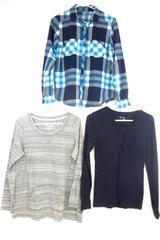 Long Sleeve Knit Top Button Up Shirt Blue Gray Plaid Women's Sz M Lot of 3