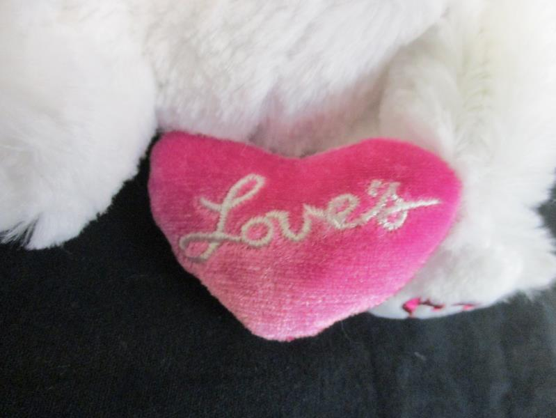 Love's Loveables White Plush Teddy Bear With Pink Heart 6 Inch