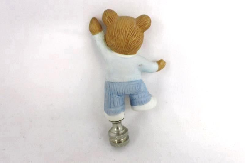 Vintage Teddy Bear Lamp Finial Porcelain and Silver Tone Metal