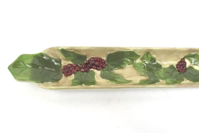 Olive Oil Dipping Serving Trays Set Of 3 Grape and Leaves Decor Red Green
