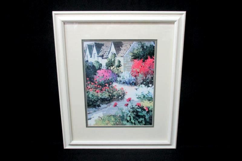 Walkway Landscape Print Framed And Matted 16 Inches By 19 Inches