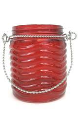 Burton Burton Decorative Vase Red Glass Jar with Handle 4.75 inch Round