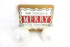 Tin and Wood Christmas Sign and LED Glitter Ornaments Set of 2 Christmas House
