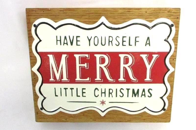 Tin and Wood Christmas Sign and LED Glitter Ornaments Set of 2 Christmas House
