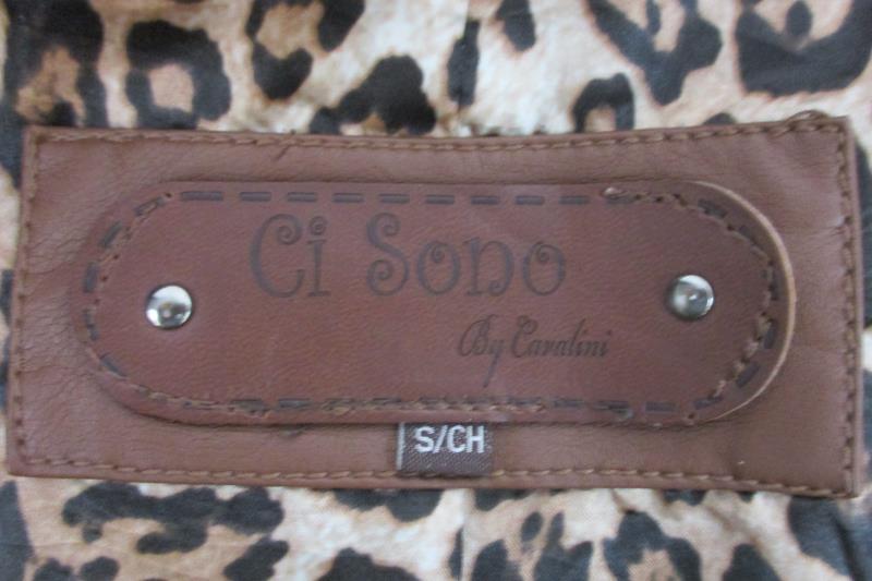 Ci Sono By Cavalini Women's Faux Leather Moto Jacket Brown Ruffle Hem Sz S