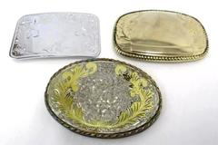 Lot of 3 Ladies Belt Buckles Silver and Gold Tone Oval Rectangle Engravable
