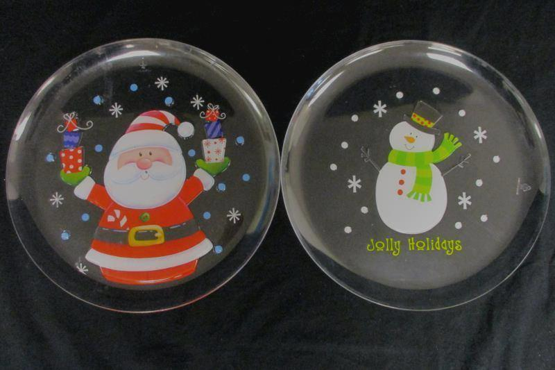 """Lot of 6 Clear Polystyrene Christmas Snack Trays Santa And Snowman 12"""" Diameter"""