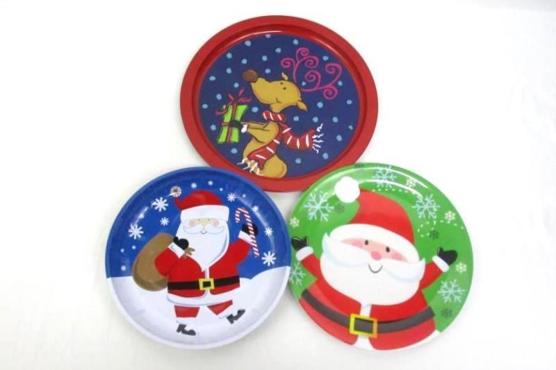 Lot of 4 Christmas Tin Snack Trays Melmac Plate Santa Reindeer