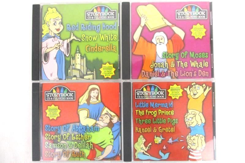 Lot Of 4 Storybook Colorbook CDs For Children Windows Fairytale & Religion