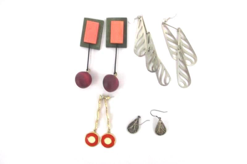 Lot of 4 Pairs Earrings Silver Gold Tone  Pierced Wood Dangle Jewelry