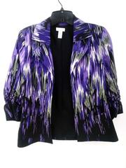Chico's Open Jacket Purple Print Ruched 3/4 Sleeve Career Sz 0 (4 / Small)