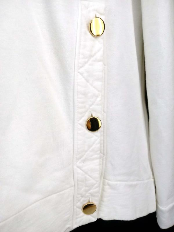 Garbe Luxe Meir Hoodie White Asymmetric Button Bamboo Cotton Blend Sz XS New