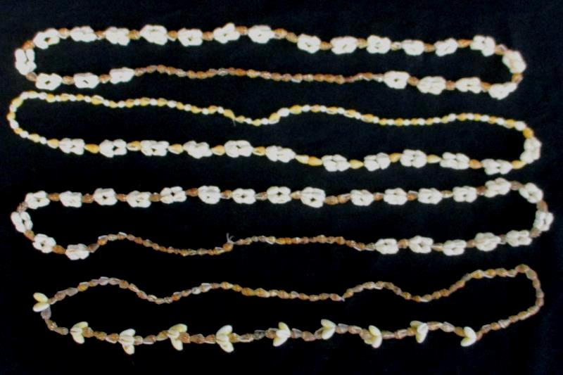 """Vintage White And Brown 16"""" Shell Necklaces 90s Beach Girl Aloha Party Lot of 4"""