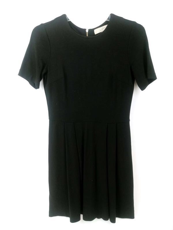 Loft Ponte Knit Dress Black A-Line Pleated Petite Career Casual Women's Sz 0P
