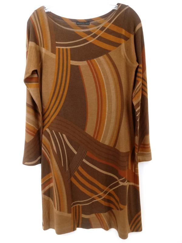 Nally & Millie Tunic Dress Long Sleeve Brown Tone Stripes Women's Small