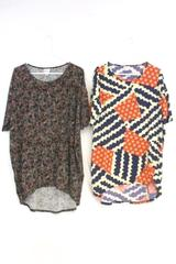 LuLaRoe Women's Irma Multi Color Print Hi Lo Oversize Top Tunic Sz M Lot of 2