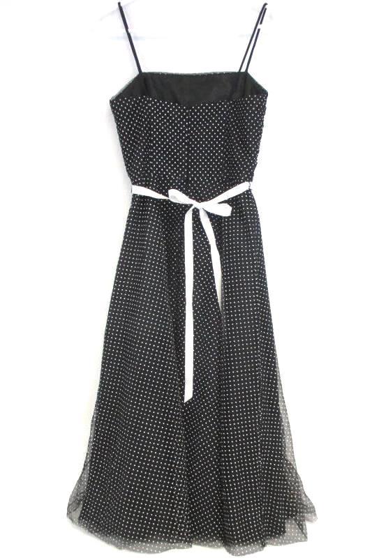 Onyx Nite Women's Retro Style Black White Dots Spaghetti Formal Party Dress Sz 6