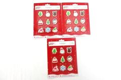 Holiday Time Christmas Miniature Erasers 3 Packages of 9 Each