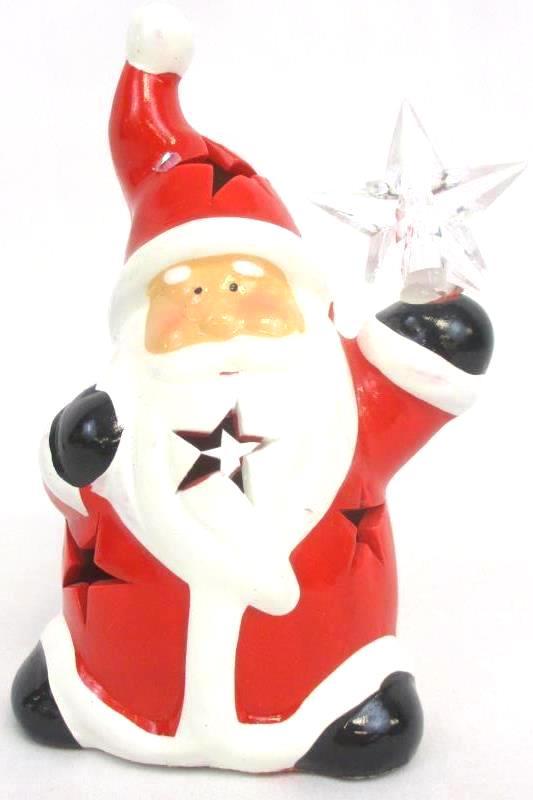 Three Lighted Christmas Ornaments Santa Figurine Angel Light Mini Light String
