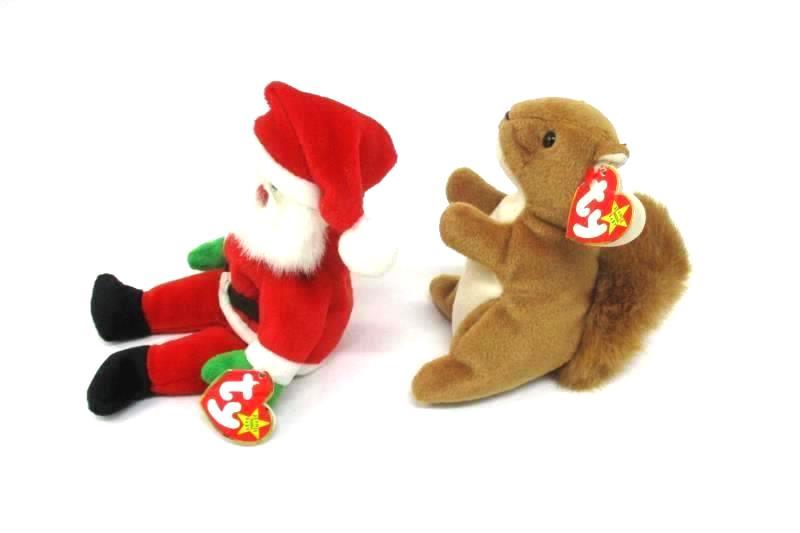 Lot of Four Ty Beanie Boos Plush Toys Santa Luke Waddle Nuts