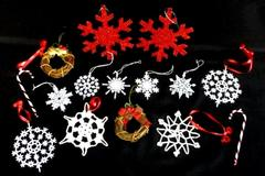 Lot Of 15 Christmas Ornaments Snowflakes Wreaths Candy Canes