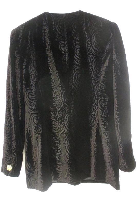 Vintage Liz Claiborne Jacket Blazer Paisley Black Velvet Size 8
