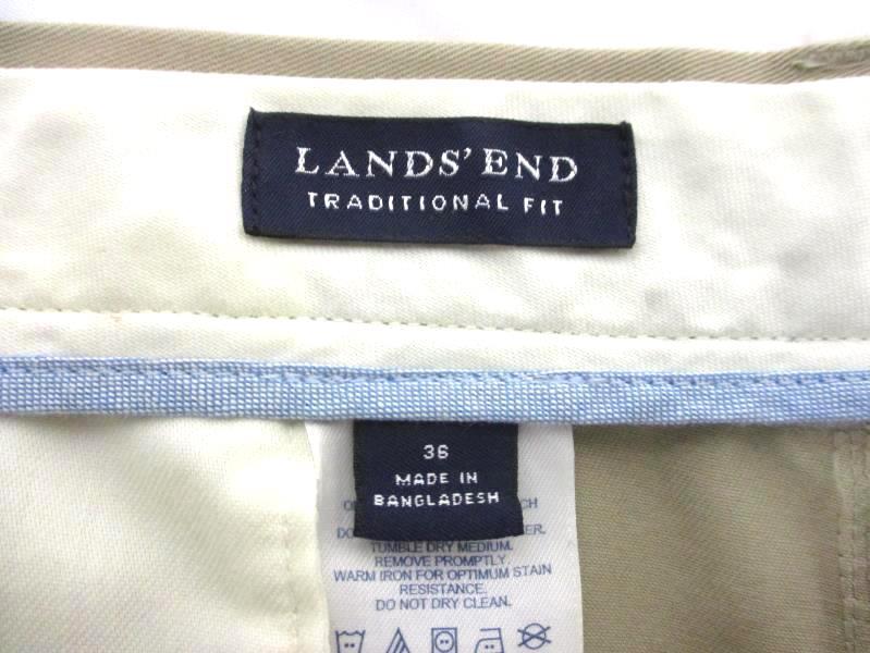 Lands' End Khaki Pants Traditional Fit Flat Front Cotton Men's Size 36