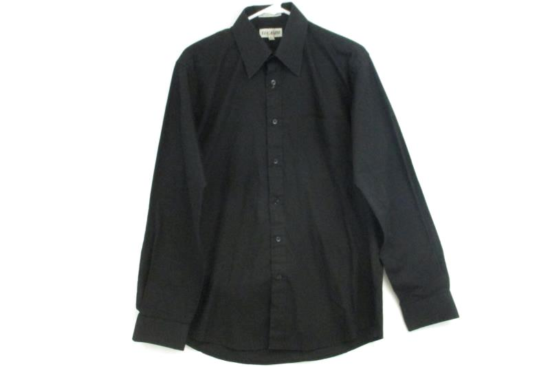 Lucasini Men's Long Sleeve Solid Black Button Up Dress Shirt Size 15 1/2 34-35