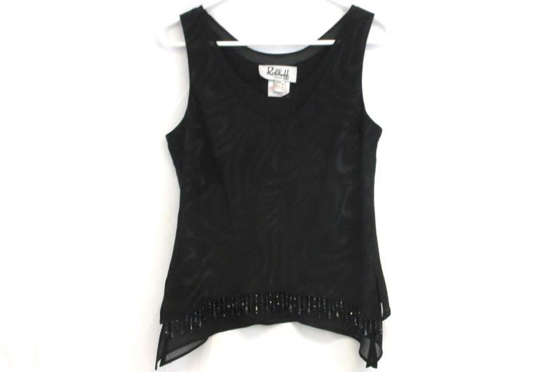 Ribkoff Evening Formal Wear Black Patterned Beaded Jacket Blouse Pant Set Sz 10