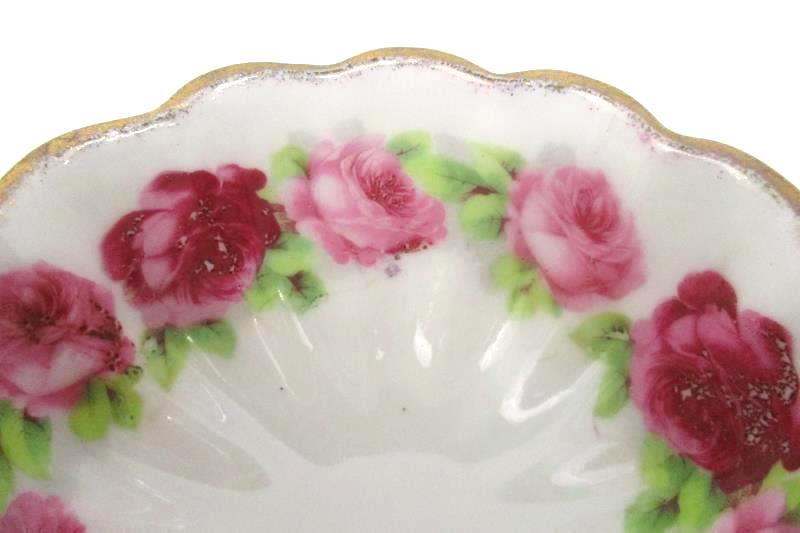 Vintage Footed Porcelain Bowl Rose Decor Gold Guild Trim