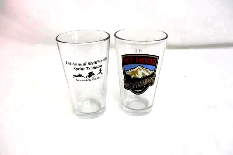 Lot of 2 Pint Glasses Mt Hood Brewing Co and McMinnville OR Triathlon Souvenir