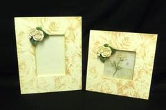 Set of 2 Lady Jayne Ltd Rose Embellished Wood Wall Hanging Frames Home Decor