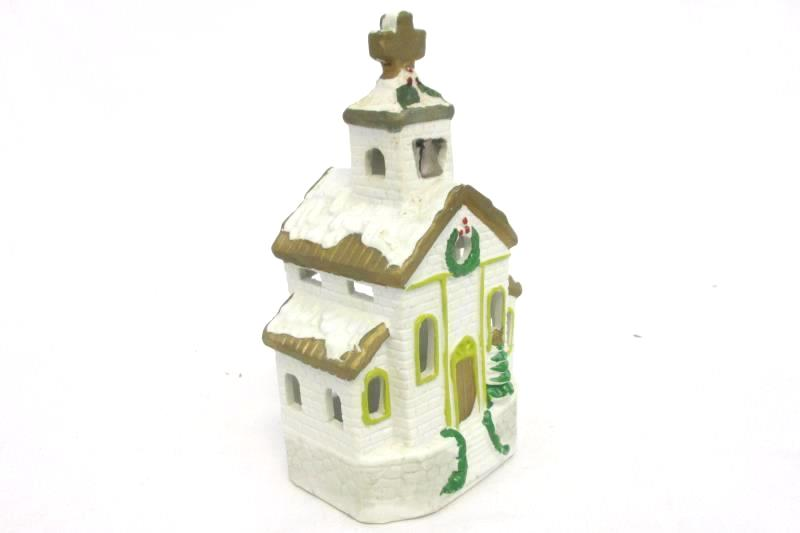 Lot of 2 Candle Holders Holiday Village School & Church Ceramic Tealight