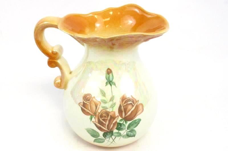 Vintage Orange Opalescent Ceramic Pitcher Floral Painted Medium Size
