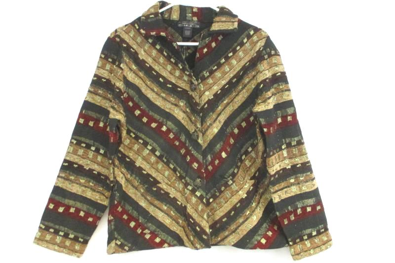 Aastha Fashion Women's Tapestry Jacket Button Front Multi Color India Size M