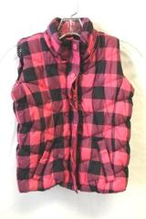 Arizona Youth Girl Pink Black Plaid Puffer Vest Size 6/7 Small