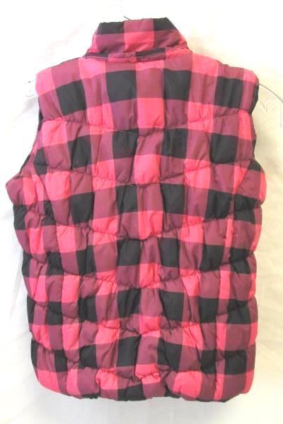 Arizona Youth Girl Pink Black Plaid Puffer Vest Size 6/7 Small