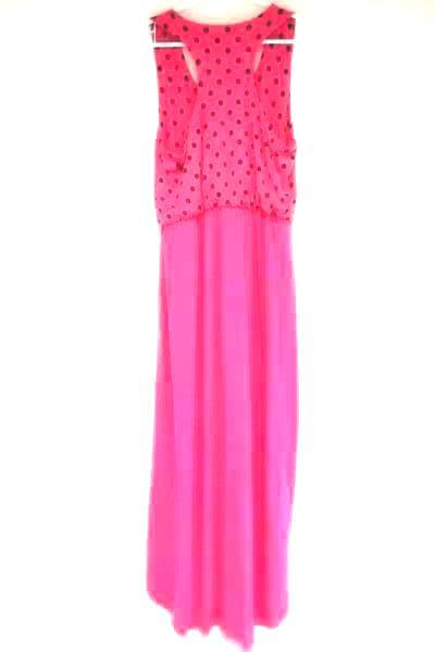 Planet Gold Sleeveless Dress Pink Black Polka Dots High Low Women's L