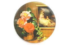 Vintage Atlantic Cookie Tin  Roses Mother Child Portrait Round