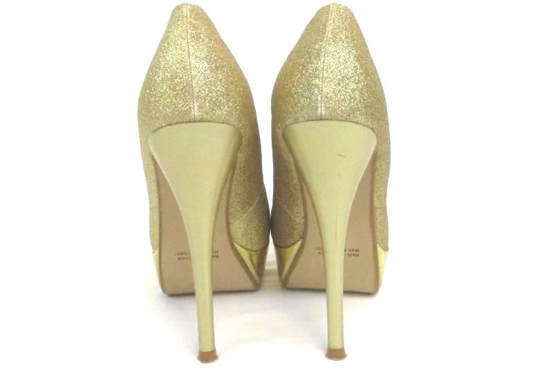 "Cathy Jean Women's 6738 Gold Glitter High Heels Pumps Size 6 5.25"" Round Toe"