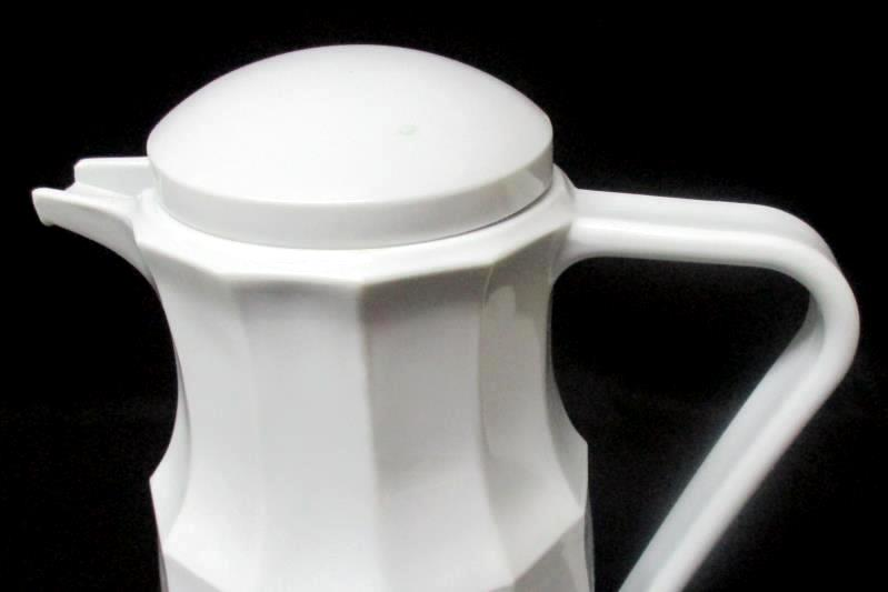 """White Vacuum Thermos Pitcher Carafe 11"""" Tall Faceted Sides 1 Liter"""