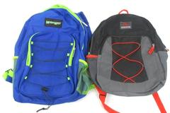 Lot of 2 Bungee Backpacks Black Trailmaker Blue Moda West School Hiking