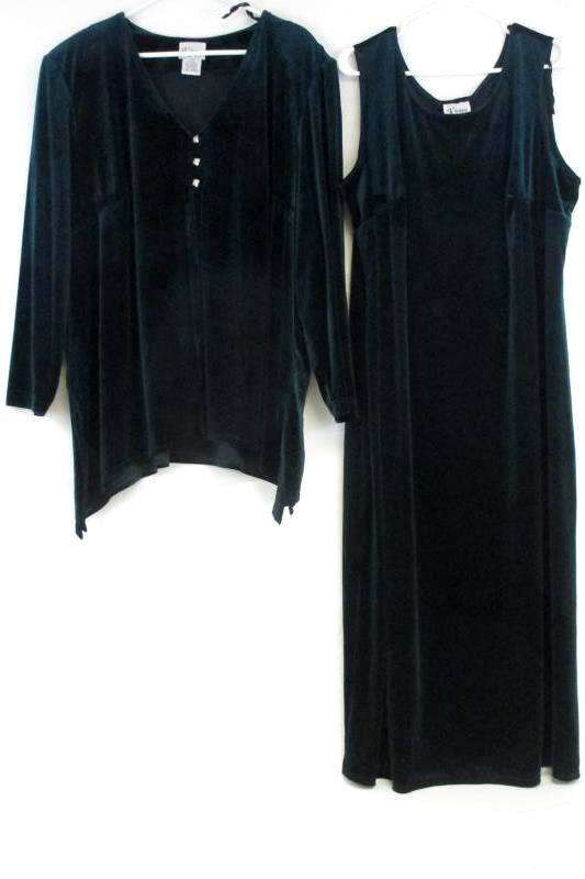 K Woman Teal Velvet Holiday Sleeveless Dress Button Up Jacket Set Outfit Sz 24W