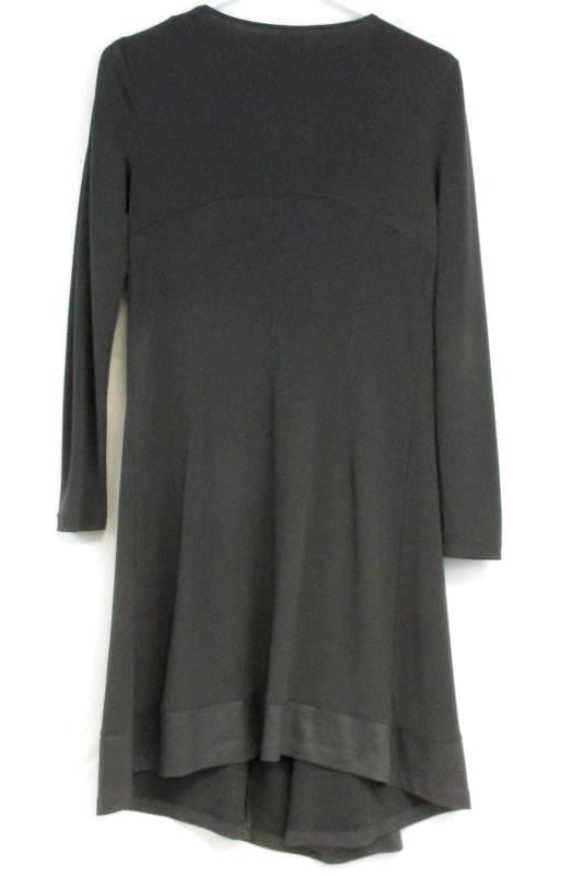 Lauren Vidal Vintage Women's Stretch Gray .Long Sleeve Dress Pleated Front Sz XS